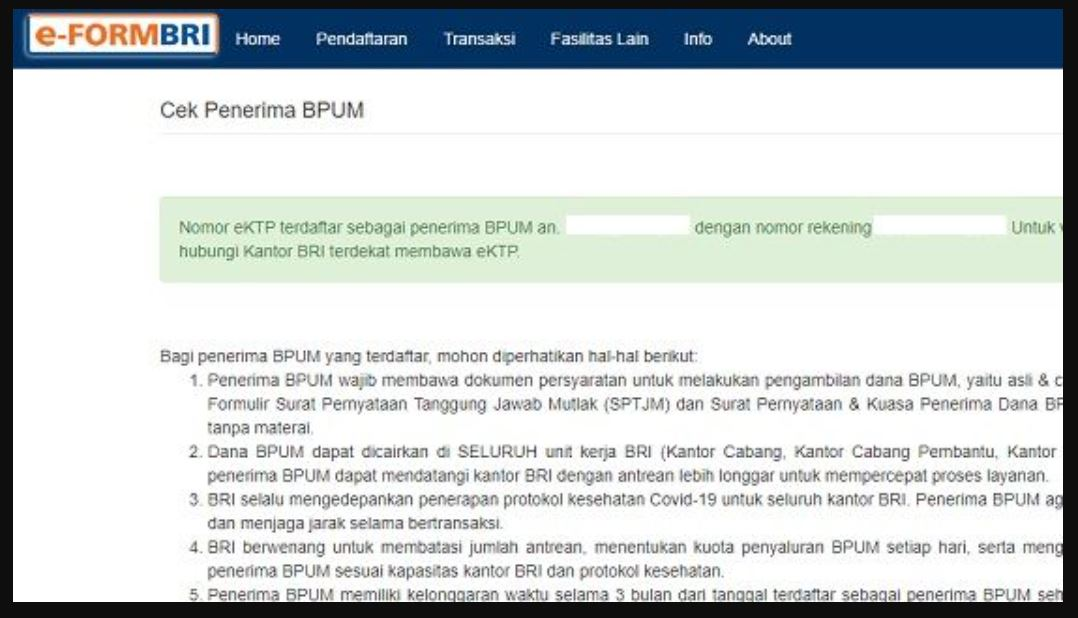 beberapa ciri yang menerima blt umkm rp 36 juta dan solusi bila nama tidak tercatat bpum di eform bri co id